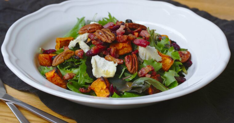 Roasted Sweet Potato Salad with Lemon Honey Dressing