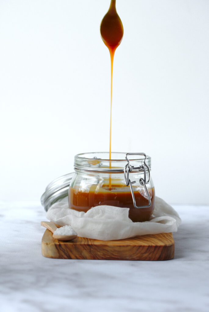 Picture of jar of salted butter caramel sauce